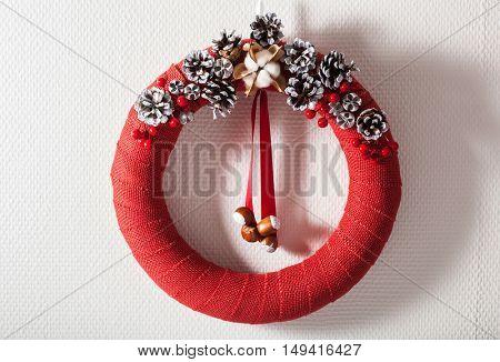 red christmas wreath handmade diy