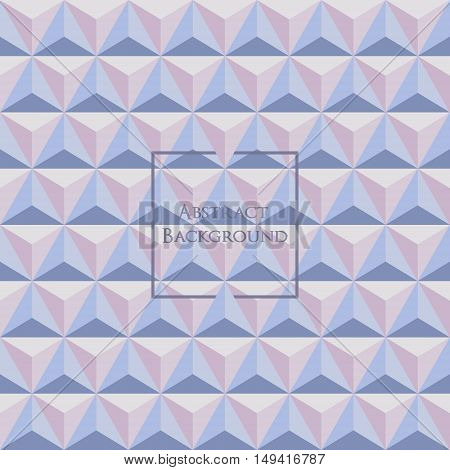3d pastel Rose Quartz and Serenity colored triangle seamless pattern. Made up with triangular shapes. Brochure poster design. Wallpapers for your computer phone and tablet.