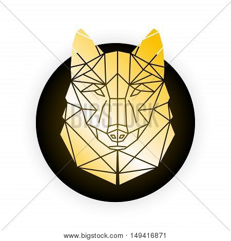 Gold wolf Abstract geometric polygonal triangle illustration for use in design for card invitation poster banner placard billboard cover. Gold Wolf head on black and white background. Easy to edit change size color and text.