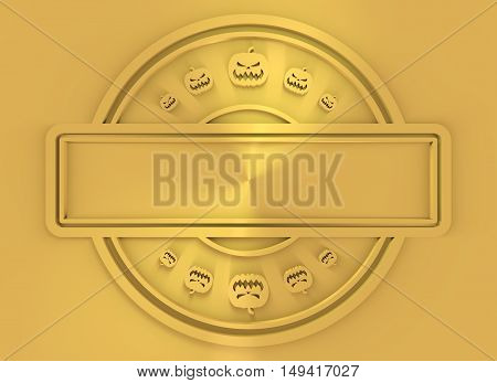 Carved stamp with field for text and pumpkins icons. 3d rendering. Metallic material. Golden seal