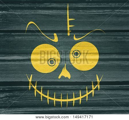 Doodle Skull with Evil Laugh. Simple silhouette. Wood texture