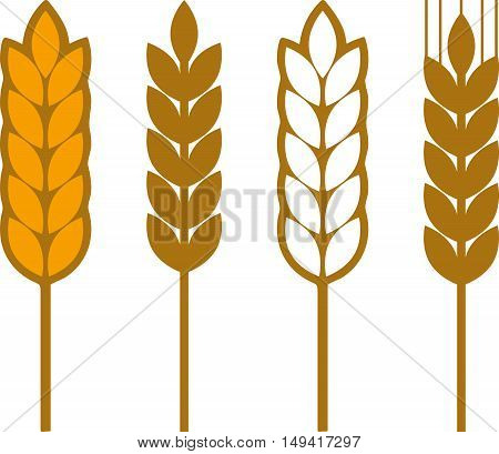 Abstract graphic set of ears of wheat