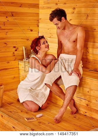 Couple in love relaxing at sauna.