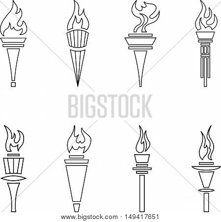 Abstract set of black line sports torches