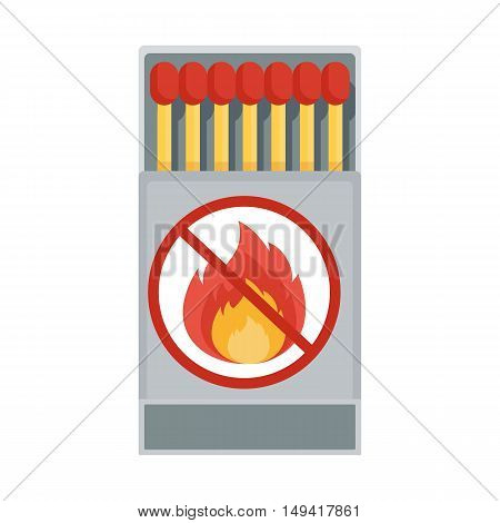 Matches in a matchbox. Vector Matches. Flat cartoon matches illustration. Objects isolated on a white background.