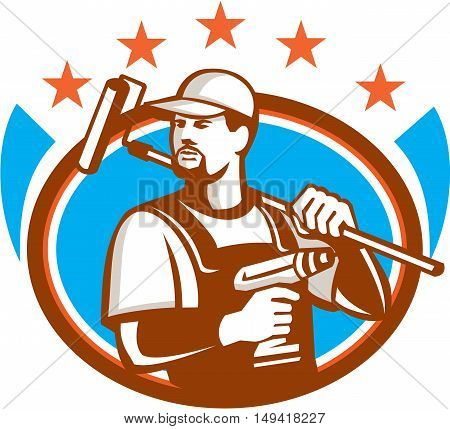 Illustration of a handyman with beard moustache facial hair holding paint roller on shoulder and cordless drill looking to the side set inside oval shape with stars on isolated background done in retro style.