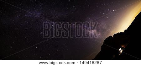 Panoramic view of the Milky Way galaxy on the desert horizon at night