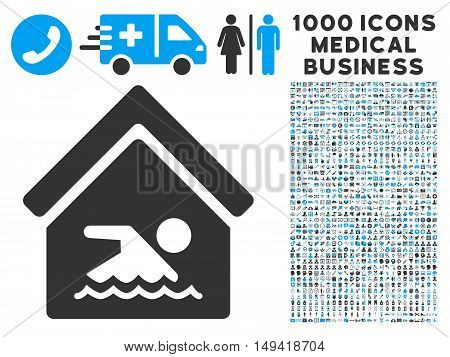 Indoor Water Pool icon with 1000 medical commerce gray and blue vector pictograms. Set style is flat bicolor symbols, white background.