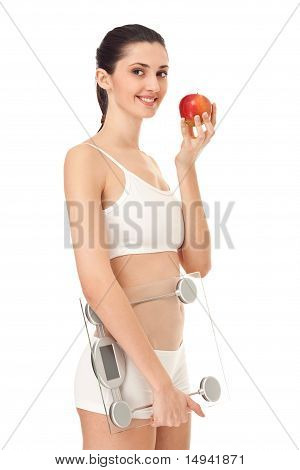 Smiling Woman Holding Scale