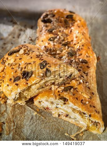 Strudel stuffed with sauerkraut and ham