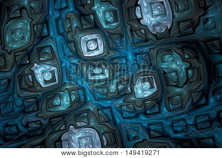 Abstract shining puzzles on black background. Fractal design in dark grey and blue colors.