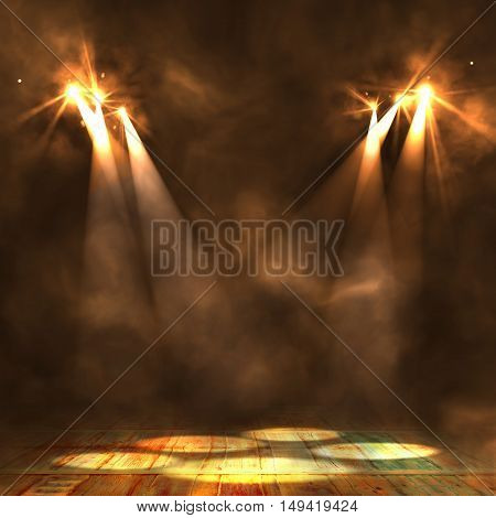 Background In Show. Interior Shined With A Projector. 3D
