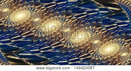 Abstract fantasy fractal design in yellow blue and black colors.