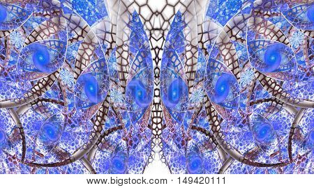 Abstract fantasy ornament on white background. Symmetrical pattern. Creative fractal design in blue and brown colors.