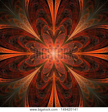 Abstract flower mandala on black background. Symmetrical pattern in red orange and dark grey colors. Fantasy fractal design for postcards wallpapers or clothes.
