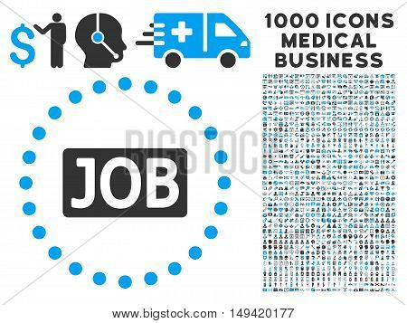Job Text icon with 1000 medical business gray and blue vector pictograms. Design style is flat bicolor symbols white background.