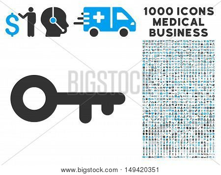 Key icon with 1000 medical business gray and blue vector pictograms. Clipart style is flat bicolor symbols white background.