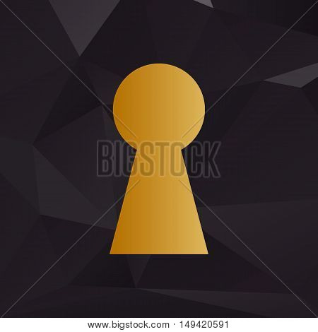 Keyhole Sign Illustration. Golden Style On Background With Polygons.