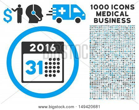 Last 2016 Month Day icon with 1000 medical commerce gray and blue vector design elements. Clipart style is flat bicolor symbols white background.