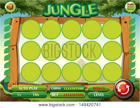 Game template with jungle theme illustration