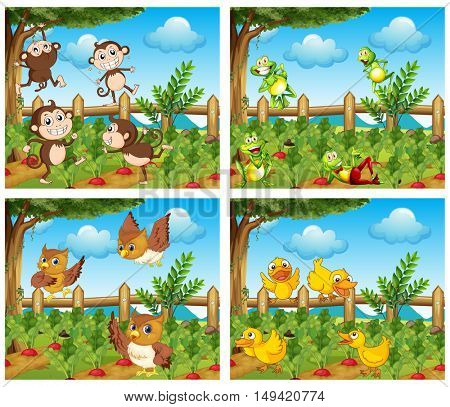 Scenes with animals in the farmyard illustration