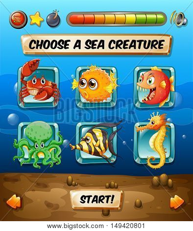 Game template with sea animals  illustration
