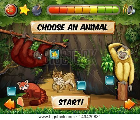 Game template with forest background illustration