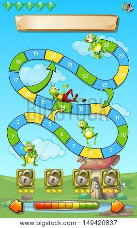 Game template with frogs in field background illustration