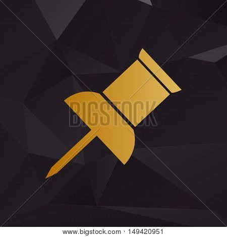 Pin Push Sign. Golden Style On Background With Polygons.