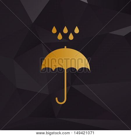 Umbrella With Water Drops. Rain Protection Symbol. Flat Design Style. Golden Style On Background Wit