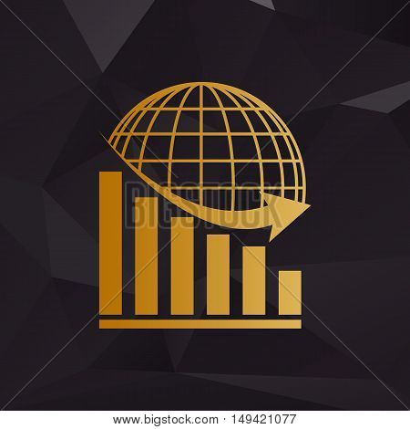 Declining Graph With Earth. Golden Style On Background With Polygons.