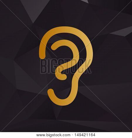 Human Ear Sign. Golden Style On Background With Polygons.