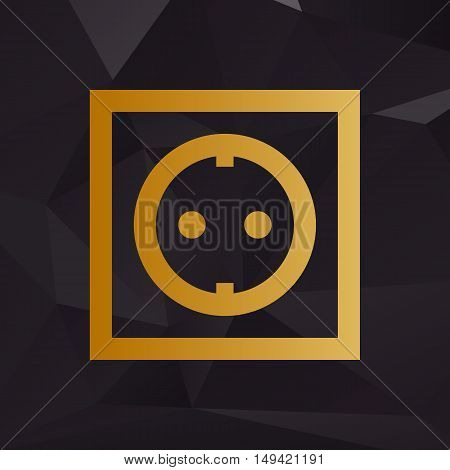 Electrical Socket Sign. Golden Style On Background With Polygons.