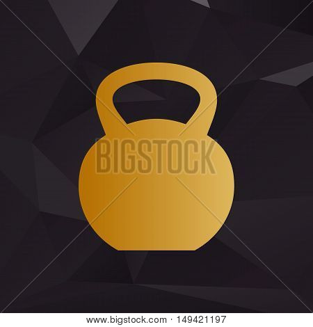 Fitness Dumbbell Sign. Golden Style On Background With Polygons.