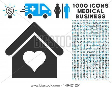 Love House icon with 1000 medical commercial gray and blue vector pictograms. Set style is flat bicolor symbols white background.