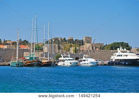 Rhodes Greece. Panorama of historical part old town.