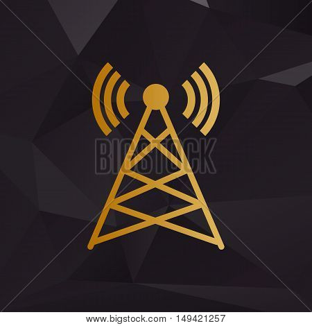 Antenna Sign Illustration. Golden Style On Background With Polygons.