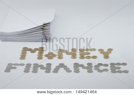 Pile Paperwork With Colorful Paperclip