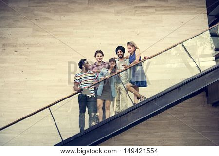 Stairs Students Diverse Friendship Young Concept
