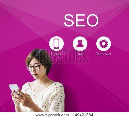 SEO Website Data Network Application Concept