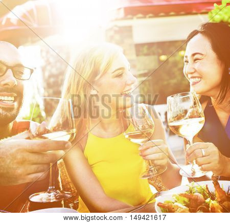 Cheerful Party Friends Friendship Cafe Hanging Out Concept