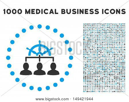 Management icon with 1000 medical commerce gray and blue vector design elements. Set style is flat bicolor symbols, white background.