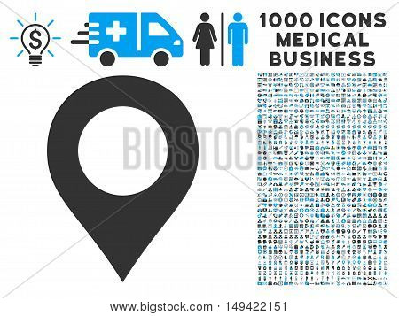 Map Marker icon with 1000 medical business gray and blue vector pictographs. Set style is flat bicolor symbols, white background.