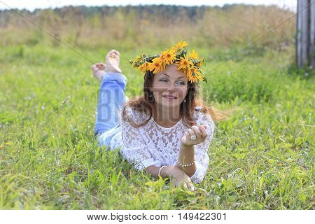 Nice Girl And Flowers In A Nice Day