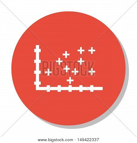 Vector Illustration Of Statistics Icon On Plotter Point Chart In Trendy Flat Style. Statistics Isola