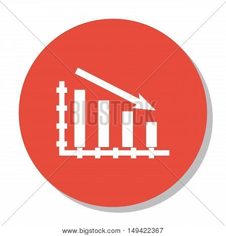 Vector Illustration Of Statistics Icon On Statistics Down Chart In Trendy Flat Style. Statistics Iso