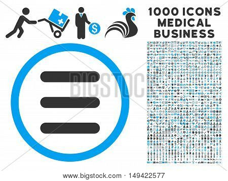 Menu icon with 1000 medical commercial gray and blue vector pictograms. Design style is flat bicolor symbols, white background.