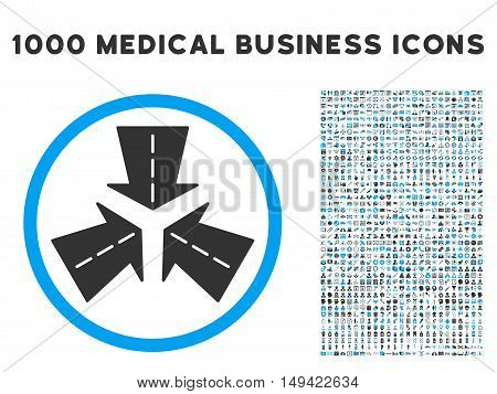 Merge Directions icon with 1000 medical commercial gray and blue vector pictographs. Set style is flat bicolor symbols, white background.