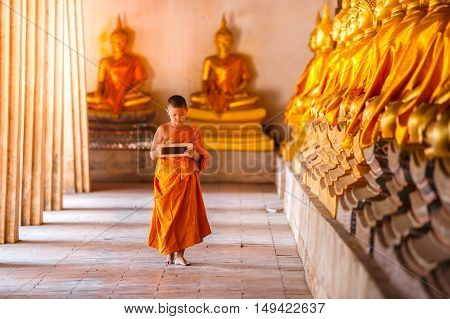 Little novice reading and studying blackboard with funny in old temple Ayutthaya Province Thailand