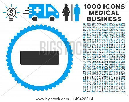 Minus icon with 1000 medical commerce gray and blue vector pictographs. Collection style is flat bicolor symbols, white background.
